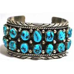 Old Pawn Turquoise Cluster Sterling Silver Cuff Bracelet - S