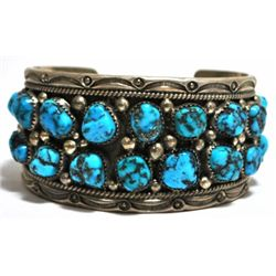 Old Pawn Turquoise Cluster Sterling Silver Cuff Bracelet - Thomas Francisco