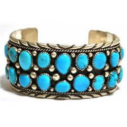 Old Pawn Turquoise Cluster Sterling Silver Cuff Bracelet - IC