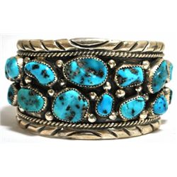 Old Pawn Turquoise Cluster Sterling Silver Cuff Bracelet - T. Benally