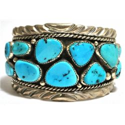 Old Pawn Turquoise Cluster Sterling Silver Cuff Bracelet - F. Arviso