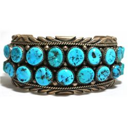 Old Pawn Turquoise Cluster Sterling Silver Cuff Bracelet - R