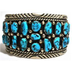 Old Pawn Turquoise Cluster Sterling Silver Cuff Bracelet - Tommy Moore