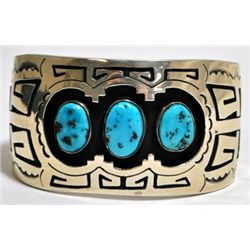 Old Pawn Turquoise Sterling Silver Cuff Bracelet - KK