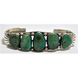Old Pawn Beautiful Rusty Green Turquoise Sterling Silver Cuff Bracelet - DV