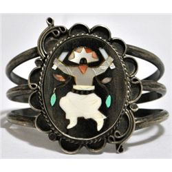 Old Pawn Multi-Stone Inlay Kachina Dancer Sterling Silver Cuff Bracelet - RH