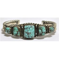 Old Pawn #8 Number Eight Turquoise Sterling Silver Cuff Bracelet - B Johnson