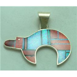 Navajo Spiny Oyster & Opal Sterling Silver Bear Pendant - H. Smith