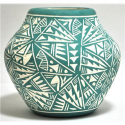Acoma Pueblo Green Etched Bowl Pottery - Jae