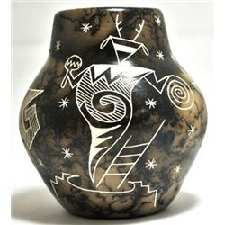 Acoma Pueblo Pueblo Dancer Etched Horsehair Pottery - Gary Yellow Corn Louis