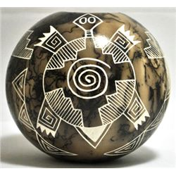 Acoma Pueblo Turtle Etched Horsehair Pottery - Gary Yellow Corn Louis