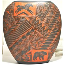Navajo Multi-Animal & Kokopelli Etched Pottery - V.K.