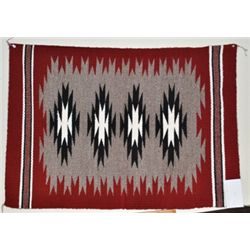 Navajo Red & White Rug - Glorilene Harrison