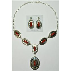 Navajo Coral Necklace & Earrings Set - Eugene Belone