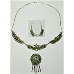 Navajo Green Turquoise Sterling Silver Necklace & Earrings Set - Violet Begay