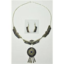 Navajo Lapis Lazuli Sterling Silver Necklace & Earrings Set - Violet Begay