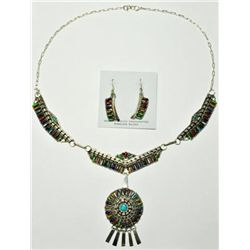 Navajo Multi-Stone Sterling Silver Necklace & Earrings Set - Violet Begay