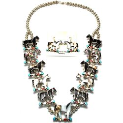 Zuni Horse Necklace & Earrings Set - Carlene Leekity