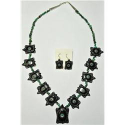 Zuni Black Marble Fetish Necklace & Earrings Set - Dilbert Gasper