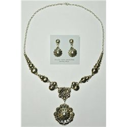 Navajo Sterling Silver Flower Necklace & Earrings Set - Clem Nalwood