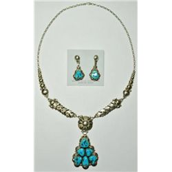 Navajo Sleeping Beauty Turquoise Sterling Silver Necklace & Earrings Set - Clem Nalwood
