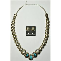 Navajo Sleeping Beauty Turquoise Sterling Silver Necklace & Earrings Set