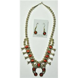 Navajo Coral Small Necklace & Earrings Set - Lenore Garcia