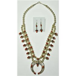 Navajo Coral Large Necklace & Earrings Set - Lenore Garcia