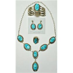 Navajo Sleeping Beauty Turquoise 4-Piece Set - Eugene Belone