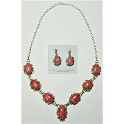 Navajo Rhodochrosite Necklace & Earrings Set - Mary Ann Spencer
