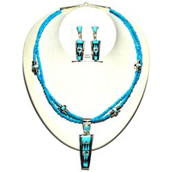 Zuni Turquoise Necklace & Earrings Set - Raylan & Patty Edaakie