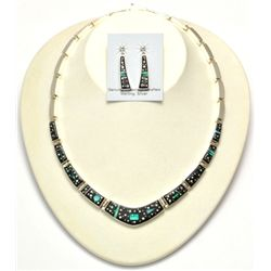 Navajo Multi-Stone Night Sky Necklace & Earrings Set - Calvin Begay