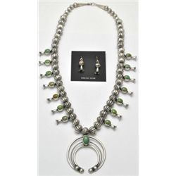Navajo Green Turquoise Squash Blossom Necklace & Earrings Set - L.F.K.