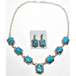 Navajo Turquoise Sterling Silver Necklace & Earrings Set - Mary Ann Spencer