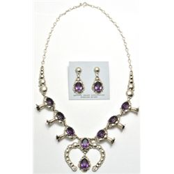 Navajo Amethyst Sterling Silver Squash Blossom Necklace & Earrings Set - Clem Nalwood