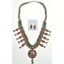Navajo Coral Sterling Silver Squash Blossom Necklace & Earrings Set - L.F.K.