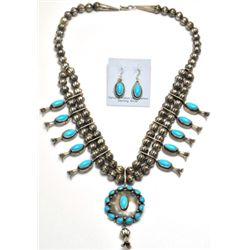 Navajo Turquoise Sterling Silver Squash Blossom Necklace & Earrings Set - L.F.K.