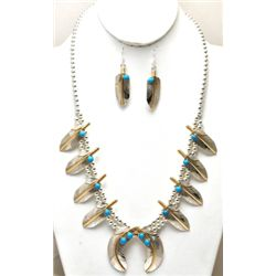 Zuni 12k Gold Filled Sterling Silver Necklace & Earrings Set - Melvin Vandever
