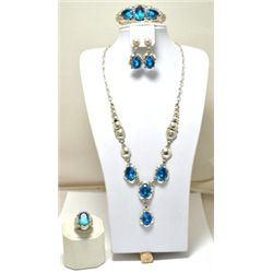 Navajo Blue Topaz Sterling Silver 4-Piece Set - Clem Nalwood