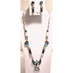 Zuni Multi-Stone Sterling Silver Eagle Dancer with Spinners Necklace & Earrings Set - Don Dewa