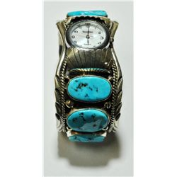 Navajo Sleeping Beauty Turquoise 6-Stone Sterling Silver Men's Watch - Mary Ann Spencer