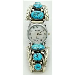 Zuni Sleeping Beauty Turquoise Men's Watch - Robert & Bernice Leekya