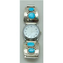 Zuni Turquoise Men's Watch - Effie Calavaza
