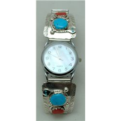 Zuni Coral and Turquoise Men's Watch - Effie Calavaza