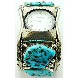 Navajo Sleeping Beauty Turquoise Large Men's Watch - Mary Ann Spencer