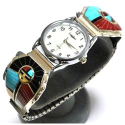Zuni Multi-Stone Sunface Sterling Silver Men's Watch w/Spinner - Don Dewa