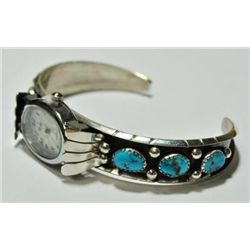 Navajo Turquoise 6-Stone Sterling Silver Women's Watch - R. Charley