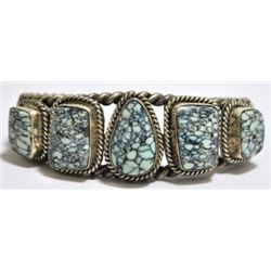 Old Pawn New Lander Turquoise Sterling Silver Cuff Bracelet - TT