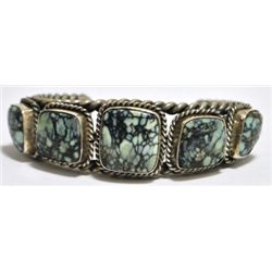 Old Pawn New Lander Turquoise Sterling Silver Cuff Bracelet - AS