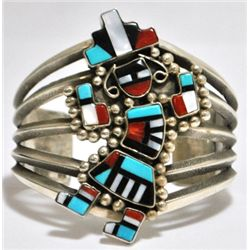 Old Pawn Multi-Stone Rainbow Kachina Sterling Silver Cuff Bracelet - Mike Platero